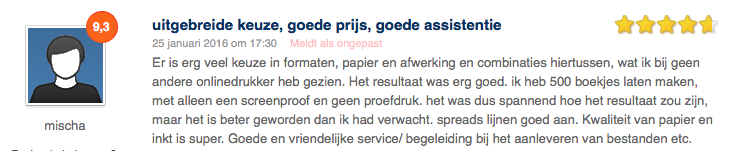 drukwerkdiscounter reviews voorbeeld